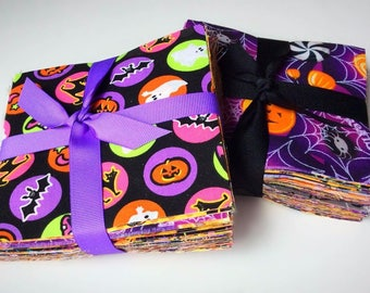 """Halloween Fabric Charm Pack Lot - 100% Cotton Quilt Fabric Pre Cut 5"""" Squares"""
