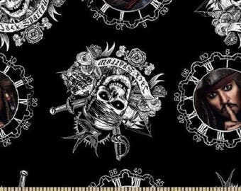 Captain Jack Sparrow Pirates of the Caribbean fabric quilt BTY disney