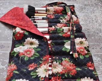 Makeup Brush Roll - Brush Roll - Makeup Brush Holder - Brush Holder - Makeup Artist Case - Travel Bag - Crochet Hook Case - Brush Organizer