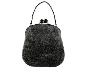 Large MORRIS MOSKOWITZ Gray Fur Handbag
