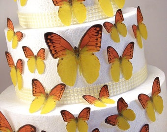Edible Butterfly Cake Decorations, Yellow and Orange Edible Butterflies, Set of 24 DIY Cake Decor, Edible Cake Decorations, DIY Wedding Cake