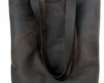 Dark Brown Leather Tote Bag - Brown Leather Bag - Leather Bag- Leather Tote- leather tote,simple leather tote