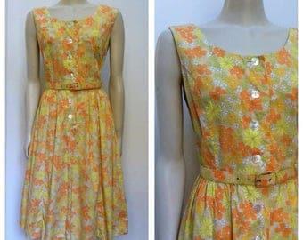 60's Vintage FLOWER print COTTON day dress w matching belt