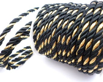 5 mm Black and Gold Braided Silk Cord_PM012445574243_ BRAIDED/ Black/GOLD Cord_of 5 mm_Sales by yards