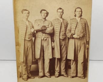 Circus Sideshow Giants Cabinet Photo The Shield Brothers The Texas Giants in Rebel Attire Freak Show Photo