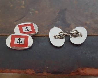 Vintage Silver Tone & Red Anchor Cufflinks