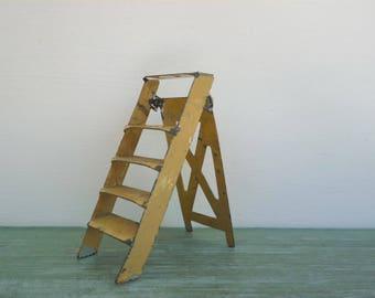 Vintage Miniature Tinplate Ladder, John Hill Farm Garden Dolls House