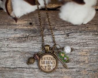 Vintage, Bronze, Raising Arrows Necklace