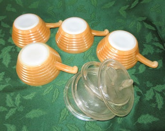 Anchor Hocking / Fire King, Copper Tint French Casseroles with Glass Lids