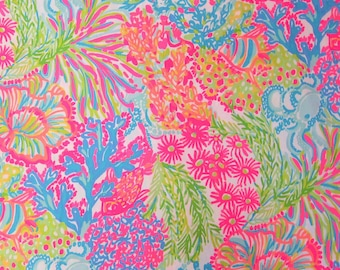 "14"" x 28"" Lilly Pulitzer Multi Lovers Coral Cotton Dobby Fabric b"
