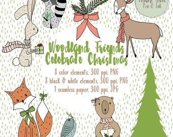 Woodland Animals Christmas Clipart, Hand Drawn Woodland Animals Clipart, Cute Woodland Animals, Black and White Clipart, DIY Christmas Card