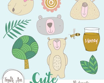 Cute Bear Clipart, Woodland Bears Clipart, Bears, Hand Drawn, Cute, Pastel, Woodland, Clipart, Digital Stamps, DIY Cards