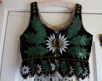 Vintage 30s 40s Black Velour Beaded Sunflower and Sequin Vest