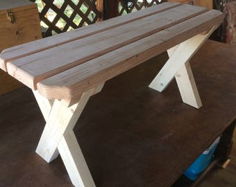 Redwood Picnic Bench. 3 ft x 1 ft. (18 inches high)