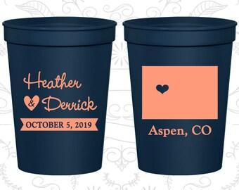 Colorado Wedding Cups, Colorado Wedding, Personalized Party Cups, Destination Wedding, State Cups, Plastic Cups (105)