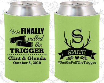 We finally pulled the trigger, Wedding Giveaways, Shotgun Wedding, Antler Wedding, Antler Favors, Wedding Can Cooler (564)