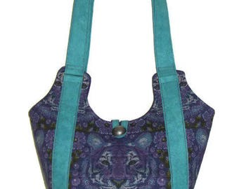 Quilted Fabric Handbag, Quilted Shoulder Bag, Purple and Jade Quilted Purse, Modern Tiger Purse, Tula Pink Purse, Quiltsy Handmade