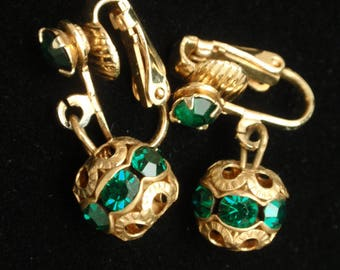 Green Rhinestone Drop Earrings Vintage Easy to Convert to Wires