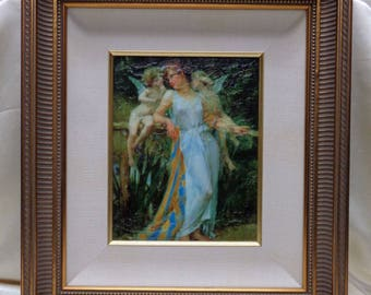 Delightful Vintage Woman & Angels Glazed Print on Board w. Antique Style Wood Frame