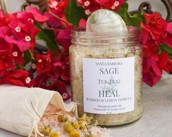 HEAL Bamboo Lemon Verbena Tub Teaz by Santa Barbara Aromatics | Himalayan Salt | Detox Salt Soak| Gift For Her | Tub Tea