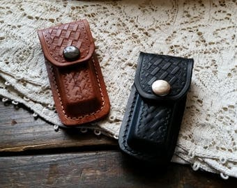 """Leather Sheath, Small Sized Embossed Basketweave Sheath for up to 3 1/2"""" Closed Folding Knife, Brown, Black Leather Sheath for Pocket Knife"""