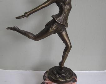 SOLD - Art Deco Bronze Dancer on Marble Plinth