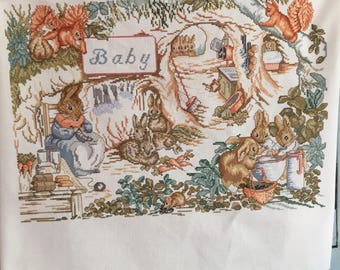 RESERVED FOR PATRICIA Handmade  Peter Rabbit Nursery Decor Cross Stitch Beatrix Potter Ready to Frame