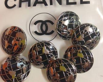 Designer buttons silver/black , 20 mm