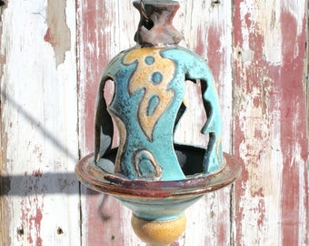Handmade Blue and Orange Raku Bird Feeder #18, Ceramic Raku Lantern, Hanging Pottery Bird Feeder