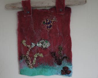 Felt picture,wall hanging,seascape,wire and bead fish,home decor,original