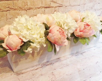 """Quaint Cottage Style Hydrangea Blooms in White with Pink Peonies """"Planted"""" in a 20 Inch Long Distressed White Wooden Box"""