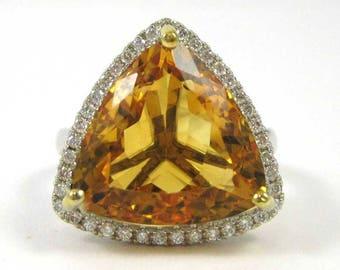 Trillion Cut Citrine and Diamond 14k Gold Ring