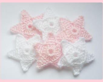 Set 6 Starfish applique crochet woolen white/pink tones 5 cm