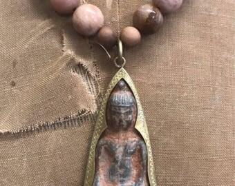 Sitting Buddha Sunstone Necklace