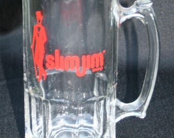 "Slim Jim Large Glass Cup Mug Stein 8"" Tall Collectible Advertising Food Vintage"