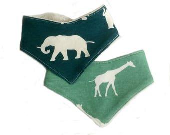 Organic bandana bibs, infant drool bibs, organic drool bibs, zoo animal bibs, French terry bibs, green bandana bibs, new baby gift set