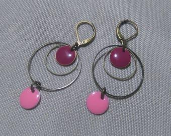 Earrings sleepers bronze metal, purple and pink tone, metal rings