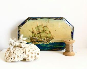 Vintage nautical tin English ship tin gift for him sailing ship