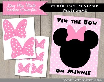 SALE INSTANT DOWNLOAD Printable Pin the Bow on Minnie / Print as 8x10 or 16x20 / Light Pink Mouse Collection / Item #1849