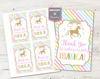 """INSTANT DOWNLOAD Printable Unicorn 3""""x5"""" Thank You For Making My Party Magical Hang Tags / Party Favors / Unicorns & Rainbows / Item #3515"""
