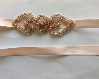 Champagne Bridal Sash Belt blush wedding sash, blush great gatsby headband, champagne headpiece 1920s fascinator Wedding Flapper Style