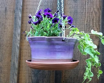Large purple hanging planter ceramic, pottery hanging flower pot, outdoor planters, terracotta garden pots with metal chain for hanging