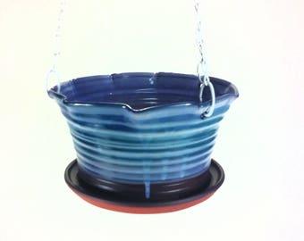 Large Blue Ceramic Hanging Planter, Pottery Hanging Flower Pot,  hanging flower baskets, patio planters, wv pottery