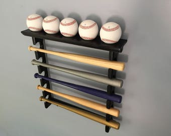Horizontal Mini Bat Rack with Baseball Shelf (black finish) Made in the USA