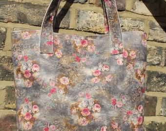 Shopper Leather and Cotton Interior Floral no 21