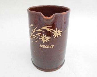 French Alpes mountains glazed pottery pitcher with edelweiss decor, heavy French pitcher from Megève,  French folk art.