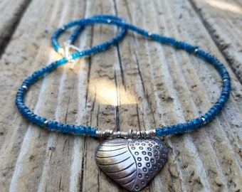 Neon Apatite Necklace and Hill Tribe Silver, Karen Hill Tribe Silver Heart Charm, Artisan Style, Apatite and Sterling Silver Necklace