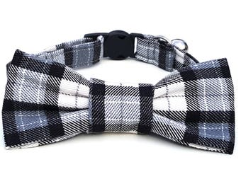 Cat Bowtie and collar set - black and white plaid tartan