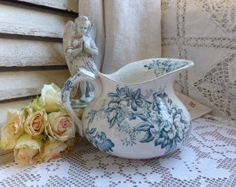 Antique french teal transferware washing pitcher. Teal transferware vase. Jeanne d'arc living. French Nordic home decor.