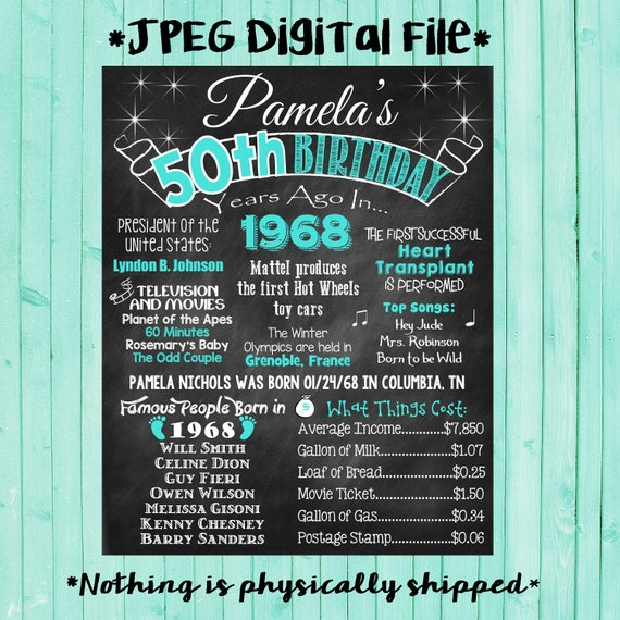 50th birthday chalkboard 1968 poster 50 years ago in 1968 born for Decoration 50 ans homme